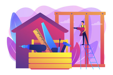 Building construction site. Handyman working. Carpenter services, building maintenance and home renovation, get local carpenters concept. Bright vibrant violet vector isolated illustration