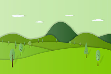 Green nature forest landscape background paper art style vector illustration.