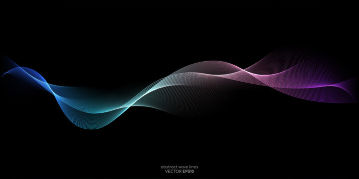 Abstract wave lines pattern dynamic colorful light flowing isolated on black background. Vector illustration design element in concept of music, party, technology, modern.