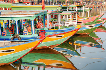 Scenic view of colorful traditional Vietnamese tourist boats