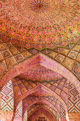 Amazing view of vault ceiling inside the Nasir al-Mulk Mosque