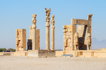 Amazing ruins of the Gate of All Nations, Persepolis, Iran
