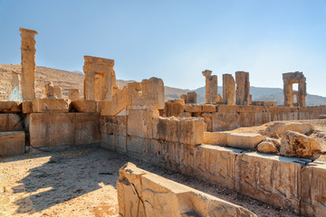 Awesome view of scenic ruins in Persepolis, Iran