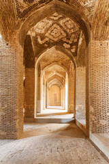 Amazing vaulted arch passageway, the Jameh Mosque of Isfahan