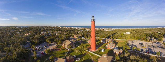 Ponce de Leon Inlet Lighthouse is a National Historic Landmark panorama in town of Ponce Inlet in Central Florida, USA.