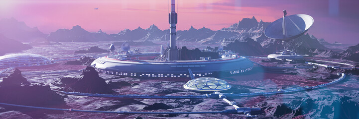 Photo sur Plexiglas Aubergine habitat on Mars surface, human colony on the red planet (3d space landscape rendering banner)