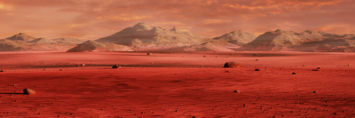 Aluminium Prints Magenta landscape on planet Mars, scenic desert surrounded by mountains, red planet surface