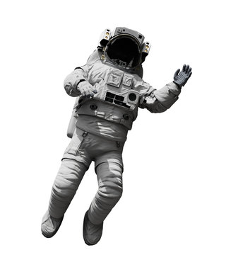 astronaut floating in outer space, isolated on white background
