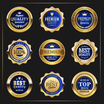 Collection of black top quality badges with gold border
