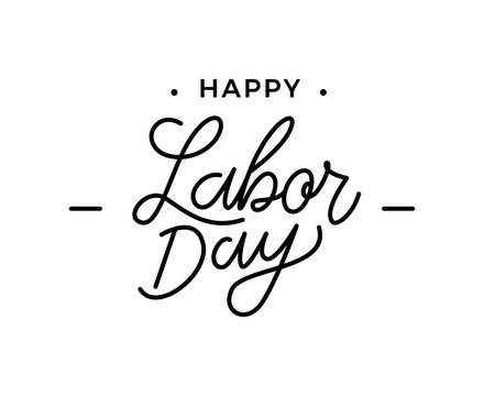 Happy Labor Day lettering. United States Labor Day celebrate card template. Labor Day monoline lettering. Creative typography for holiday greetings and invitations. Vector illustration