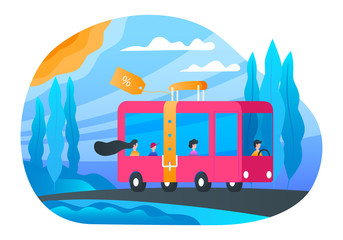 Cheap bus tickets banner. Bus with passengers traveling on the road. Modern vector illustration