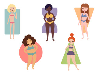 Different female body shapes. Rounded, triangle, inverted triangle, rectangle and hourglass types. Vector illustration of various women with different figures.
