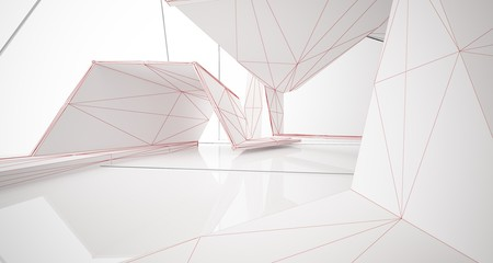 Abstract drawing white parametric interior. 3D illustration and rendering.