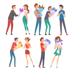 Young Men Giving Bouquet of Flowers to Happy Girls Set, Congratulations on Holiday, Birthday or Romantic Date Vector Illustration