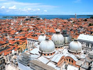 Venice with Santa Maria della Salute church, Veneto, Italy, view of top