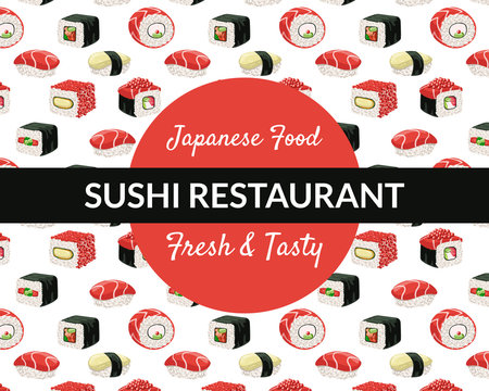 Sushi Restaurant Banner Template, Fresh and Tasty Japanese Food Business Card with Asian Seafood Seamless Pattern Vector Illustration