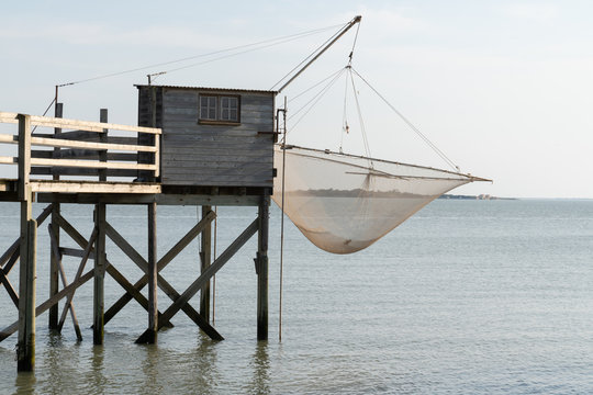 fishing huts net in carrelet Charente Maritime France in Fouras