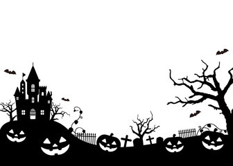 Halloween silhouette (pumpkin, castle etc.) vector illustration.