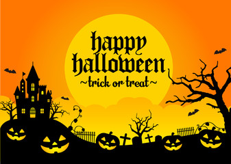 Halloween silhouette background vector illustration. Poster (flyer) template design / orange