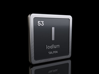 Iodine I, element symbol from periodic table series. 3D rendering isolated on black background
