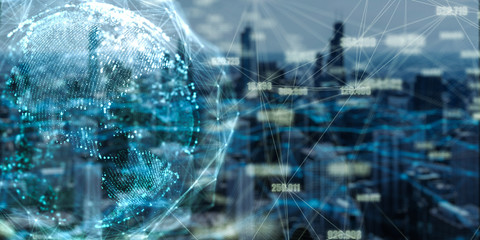 Global network and data connection double exposure with Chicago city in 3d space Futuristic digital Abstract background for Business  and technology Wall mural