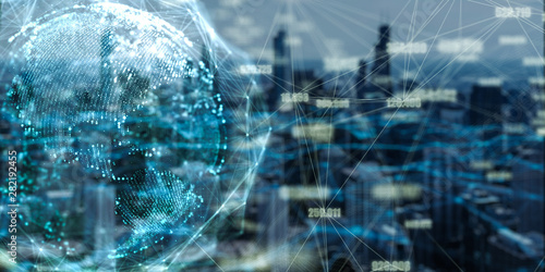 Wall mural Global network and data connection double exposure with Chicago city in 3d space Futuristic digital Abstract background for Business  and technology