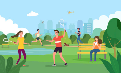 Vector summertime flat illustration. Happy people in the city park.