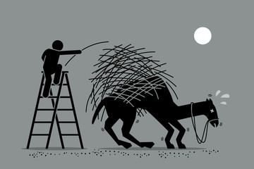 Fototapeta The last straw that breaks the camel back. Vector artwork depicts a man putting one a straw to an already overburdened camel back. Concept depicts overworked, pressure, and final tolerable event. obraz