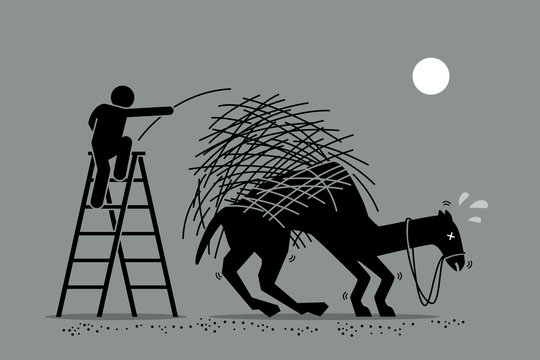 The last straw that breaks the camel back. Vector artwork depicts a man putting one a straw to an already overburdened camel back. Concept depicts overworked, pressure, and final tolerable event.