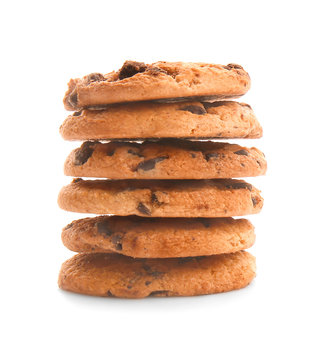 Stack of tasty cookies with chocolate chips on white background