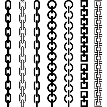 Vector illustration of chain pattern set of braided ropes in black and white color
