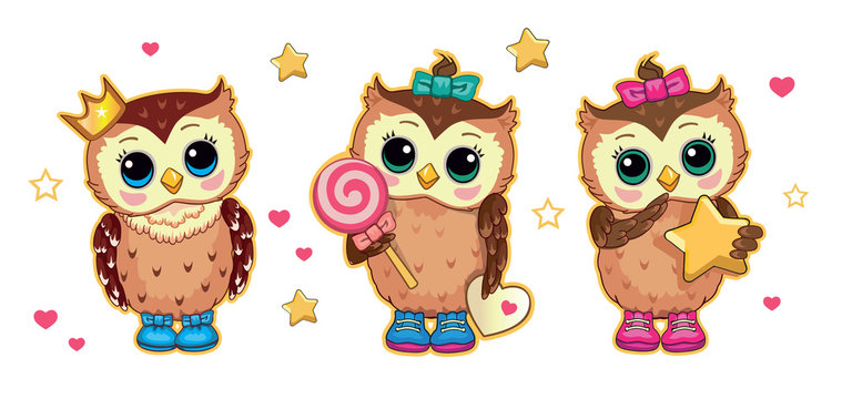 Set cartoon cute funny owls with star, candy, crown. Isolated children's cartoon fabulous illustration, suitable for print, sticker. Fairytale story. Card for family, friends. White background. Vector