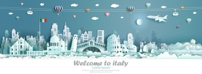 Wall Mural - Vector illustration tour Italy architecture famous landmarks of europe.