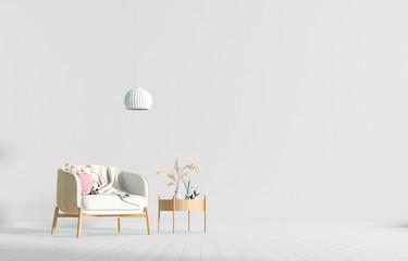 Empty wall in Scandinavian style interior with armchair. Minimalist interior design. 3D illustration. Wall mural