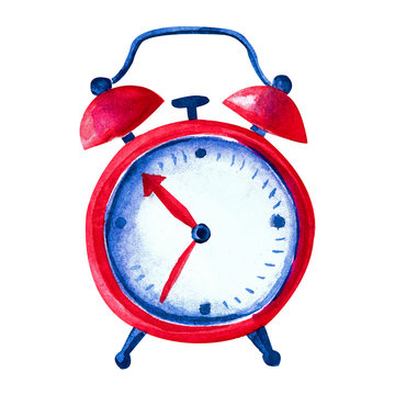 Beautiful red alarm clock in watercolor. Isolated object on white background. Hand-drawn illustration of the clock in a fun, children's style.