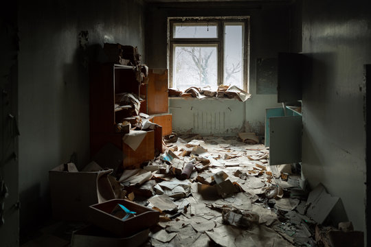 Abandoned messy room in old building