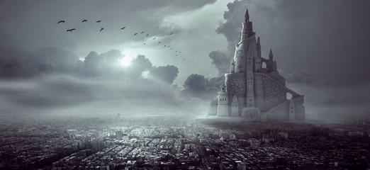 Aluminium Prints Dark grey castle in fog