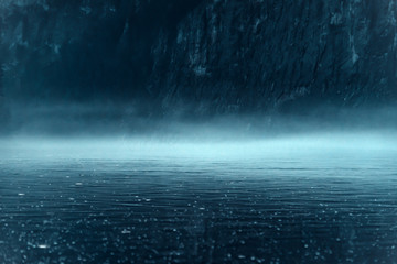 Keuken foto achterwand Fractal waves Thick night fog over the river with rocky shore
