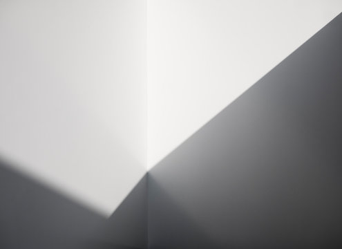 White wall Abstract background lighting shade shadow black and white