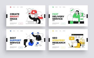 Set of Presentation slide templates or landing page websites design. Business concept illustrations. Modern flat outline style. Wall mural