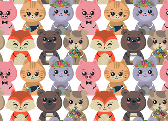 Vector seamless pattern with cute animals. Colorful funny characters.