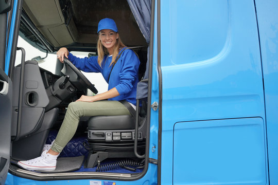 smiling truck driver woman