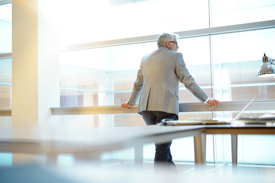 Mature businessman looking out large window in office