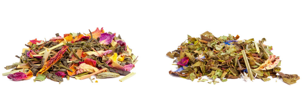 closeup of natural herbal tea made of various loose dried herbs isolated on white