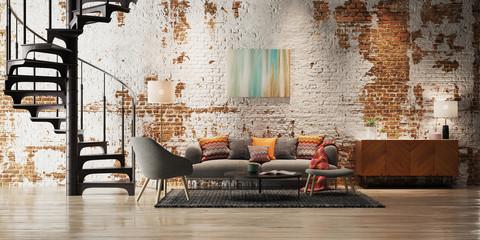 View inside luxury vintage loft apartment with brick walls