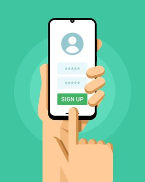 Smartphone mockup in human hand. Sign up screen in application with login and password. Vector illustration