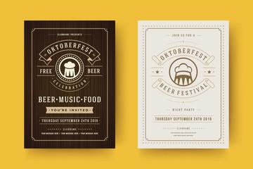 Oktoberfest flyers or posters retro typography templates willkommen zum beer festival celebration vector illustration