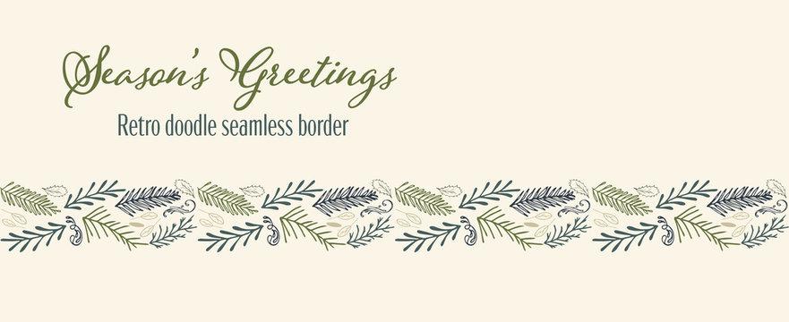 Vector winter foliage seamless border holiday seasons greetings.