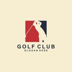 golf logo template, golfer design vector