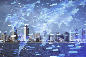 Data theme hologram drawing on city view with skyscrapers background multi exposure. Bigdata concept. Wall mural